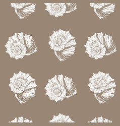 Pattern with hand drawn seashell vector