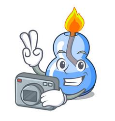 Photographer alcohol burner mascot cartoon vector
