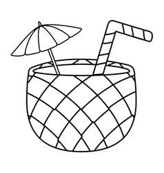 Pina colada cartoon in black and white vector