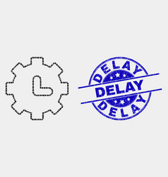 Pixel clock settings icon and grunge delay vector