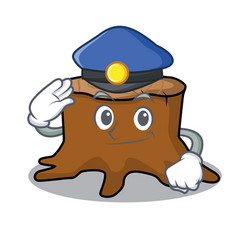 police tree stump character cartoon vector image