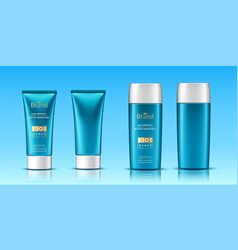 Realistic 3d tubes with sunscreen cream vector