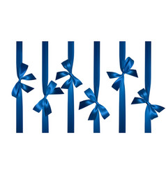 realistic blue bow with vertical blue ribbons vector image