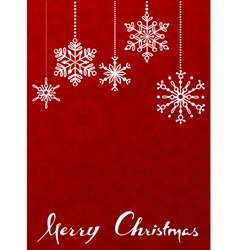 Red Christmas background with hanging snowflakes vector image