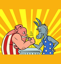 republicans and democrats donkey and elephant vector image