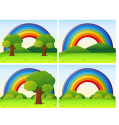 Scenes with rainbow and field vector