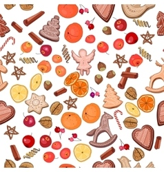 Seamless Christmas pattern with mandarines vector