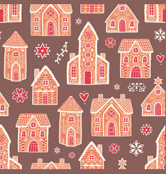 seamless pattern with sweet delicious gingerbread vector image