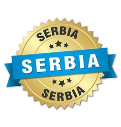 Serbia round golden badge with blue ribbon vector