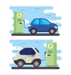 set banner electric vehicles cars in charging vector image