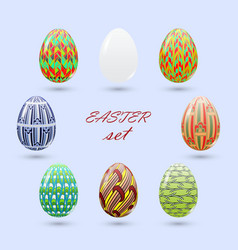 set of easter eggs painted in a zenart style and vector image