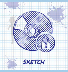 Sketch line cd or dvd disk with closed padlock vector