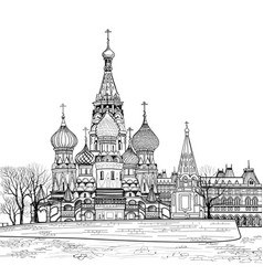 St basil cathedral city view moscow russia travel vector