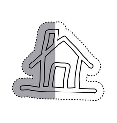 Sticker contour house with chimney icon flat vector