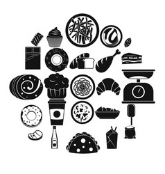 street food icons set simple style vector image