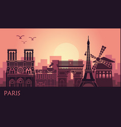 stylized landscape of paris with eiffel tower arc vector image