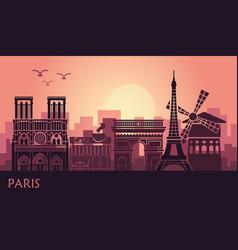 stylized landscape paris with eiffel tower arc vector image