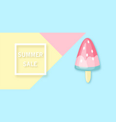summer sale banner with watermelon-ice cream vector image