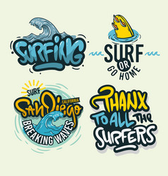Surfing style surf summer time beach life hand vector