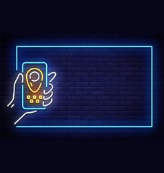 Taxi neon signboard in frame neon vector