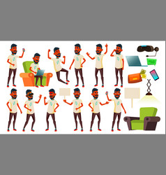 Teen boy poses set indian hindu asian vector