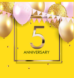 Template 5 years anniversary background vector
