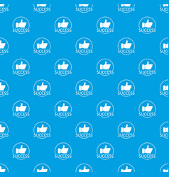 Thumbs up pattern seamless blue vector