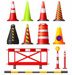 Traffic cones drums and posts vector