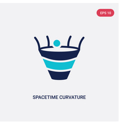 Two color spacetime curvature icon from education vector