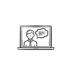 video chat hand drawn sketch icon vector image