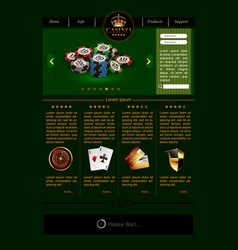 web site template for casino vector image