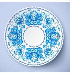 White plate with russian ornament vector image