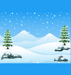 Winter mountains landscape with fir trees and fall vector