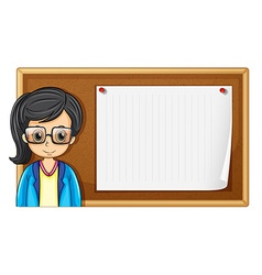 Woman with glasses and board vector image