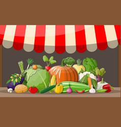 wooden supermarket shelf with vegetables vector image