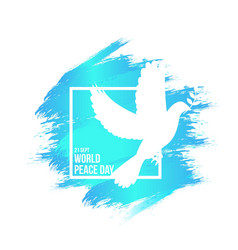 world peace day with white dove graphic element vector image