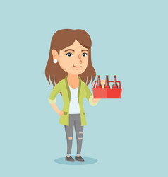 young caucasian woman with pack of beer vector image