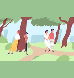 young people walking and relaxing in urban park vector image