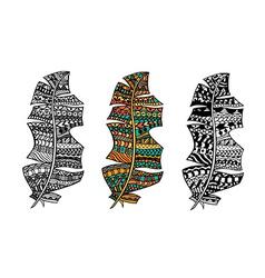 Zentangle stylized feathers vector image vector image