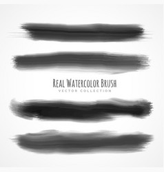 black real watercolor brushes set vector image vector image