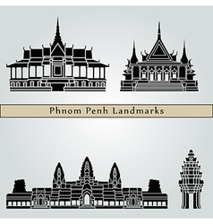 Phnom Penh landmarks and monuments vector image vector image