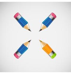 Set of four short pencils design vector image