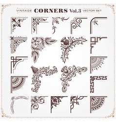 Set of vintage corners 3 vector