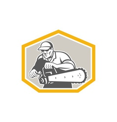 Tree Surgeon Arborist Holding Chainsaw Shield vector image vector image