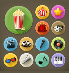 Cinema music and theater long shadow icon set vector image vector image