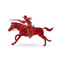 Cowboy on horse aiming rifle vector