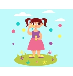 Girl and soap bubbles vector image vector image