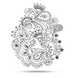 Henna Paisley Mehndi Doodles Design Element vector image
