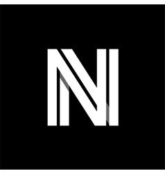 Letter N wide white stripes Logo monogram emblem vector image vector image