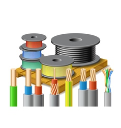 Different kinds of cables are on wooden pallet vector image